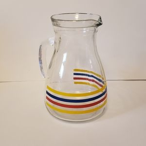 Other - VTG glass pitcher 8 inch yellow red blue stripes